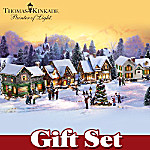 Thomas Kinkade Village Christmas Artist District Gift Set