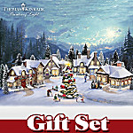 Thomas Kinkade Christmas Village Set Cobblestone Corners