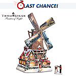 Thomas Kinkade Olde Mill At Christmas Windmill Sculpture With Light, Music And Motion