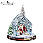 Thomas Kinkade Santa Nativity Crystal Chapel Christmas Sculpture