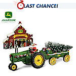 John Deere Tractor Holiday Harvest Sculpture Set