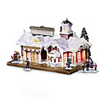 Village Christmas Lighted And Musical Train Station: Thomas Kinkade Train Accessory