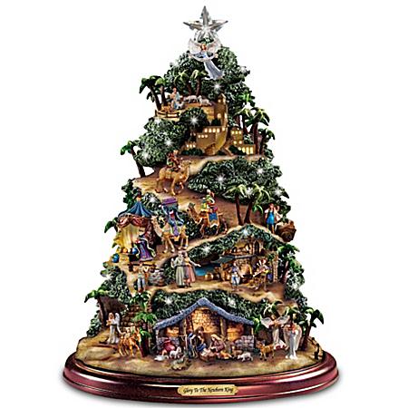 Thomas Kinkade Illuminated Musical Tabletop Nativity Tree