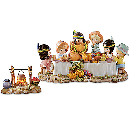Precious Moments Collectibles Figurine: Precious Moments We Gather Together Thanksgiving Figurine Set