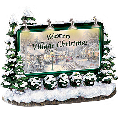 Thomas Kinkade Welcome To Village Christmas Lighted Sign Village Accessory