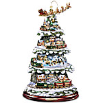 Thomas Kinkade Animated Tabletop Christmas Tree With Train - Wonderland Express