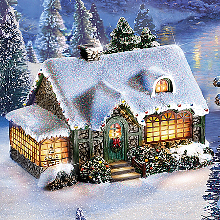 Thomas Kinkade Family Blessings Handcrafted Illuminated Sculpture