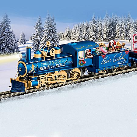 Elvis Taking Care Of CHRISTMAS Illuminated Train Set