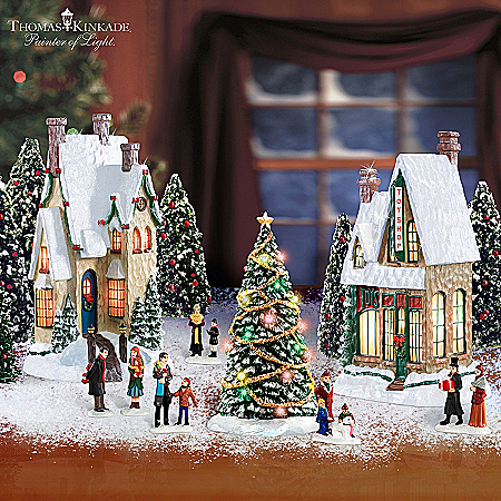 Christmas Village Collectibles Thomas Kinkade Winter Splendor Christmas Village Set