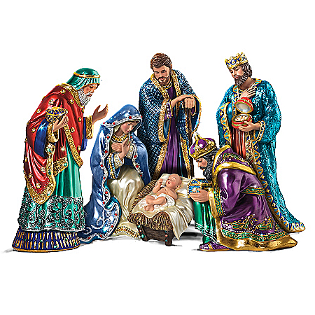 The Jeweled Nativity Peter Carl Faberge Inspired Figurine Set