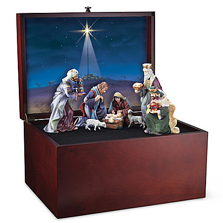 Glory To The Newborn King Nativity Wooden Keepsake Box