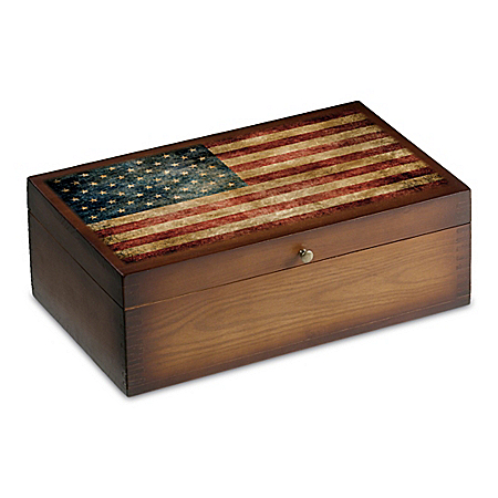 Old Glory Solid Hardwood Train Storage Box Accessory