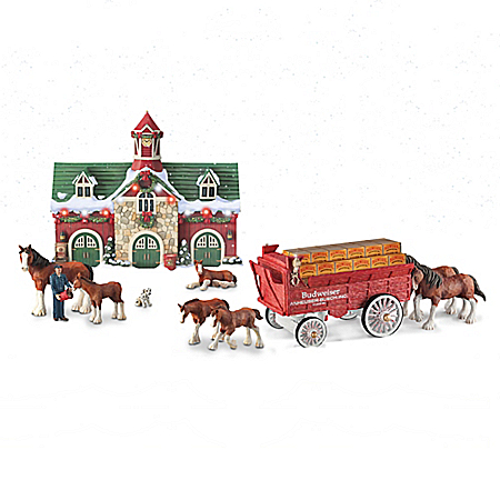 Budweiser Clydesdales Holiday Edition Wagon And Stable Sculpture Set