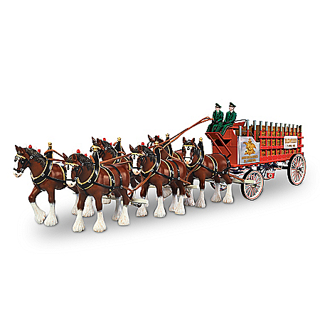 Budweiser Clydesdales Vintage Masterpiece Hand-Painted Sculpture