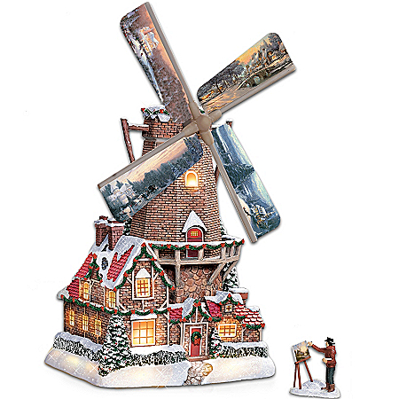 "Thomas Kinkade ""Olde Mill At Christmas"" Windmill Sculpture With Light, Music And Motion"