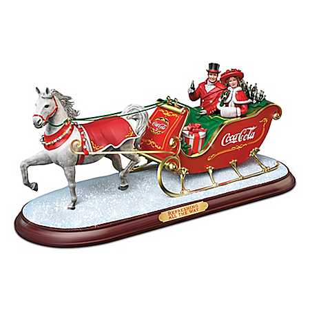 COCA-COLA Refreshing All The Way Holiday Sleigh Sculpture