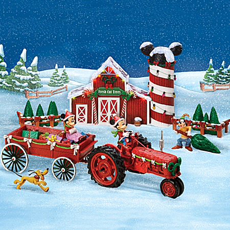 Christmas Village Collectibles Disney Mickey Mouse Christmas Sculpture Set: Bringing Home The Tree With Mickey Mouse