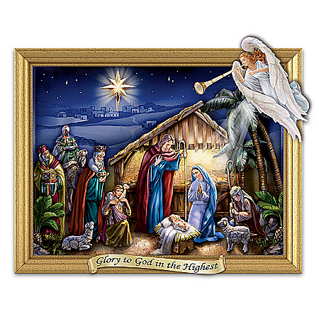 Heavenly Radiance Shadow Box Nativity Sculpture