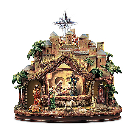 Christmas Nativity Sets Sculpture: Thomas Kinkade Following The Star Nativity Sculpture