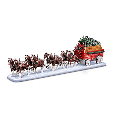Budweiser Clydesdales Holiday Masterpiece Sculpture With Budweiser Anheuser-Busch Delivery Wagon
