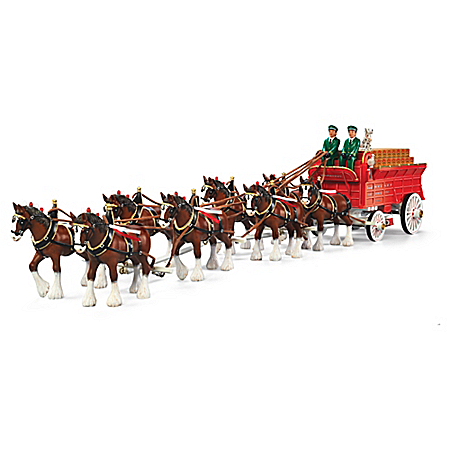 Budweiser Clydesdales Grand Masterpiece Horse And Wagon Sculpture