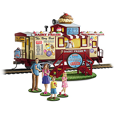 Sweet Treats HO-Gauge Hand-Painted Caboose Train Car And Accessory Set