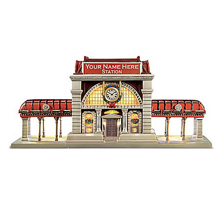 Personalized Hand-Painted Train Station Sculpture
