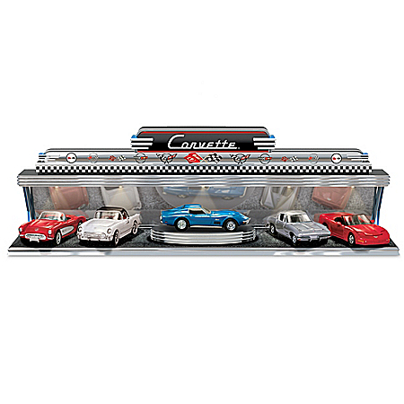 Corvette - America's Sports Car Diecast Car Set With Art Deco-Style Illuminated Display