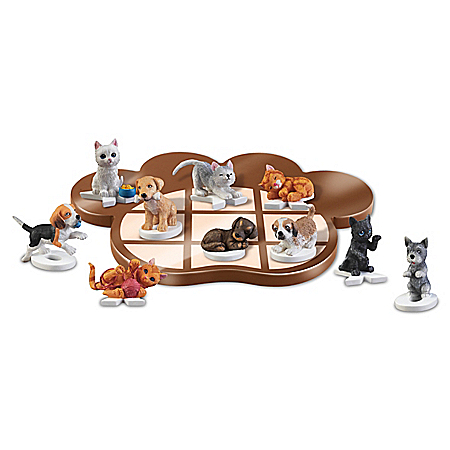 Claws 'n' Paws Fully-Sculpted Pet Tic-Tac-Toe Board Game Set