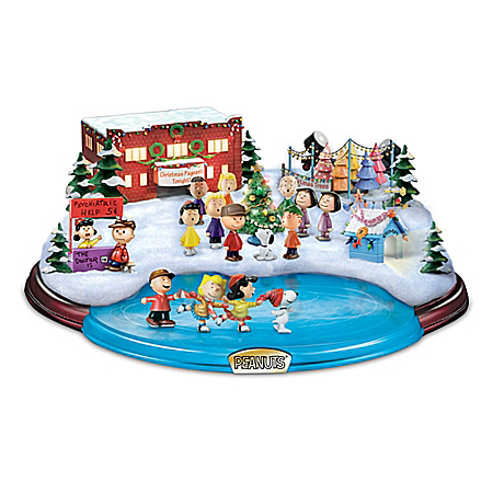 PEANUTS Christmas Skating Pond Illuminated Masterpiece Sculpture