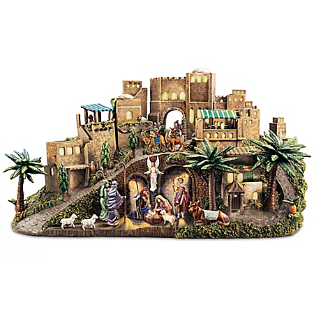 Thomas Kinkade O Little Town Of Bethlehem Illuminated Nativity