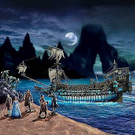 Disney Pirates Of The Caribbean Silent Mary Illuminated Ghost Ship Sculpture Set