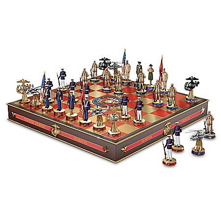 USMC Semper Fi Chess Set With Fully Sculpted Marine-Inspired Game Pieces