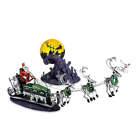 Disney Tim Burton's The Nightmare Before Christmas Hand-Painted Illuminated Sculpture Set