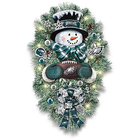 Philadelphia Eagles Illuminated NFL Snowman Wreath