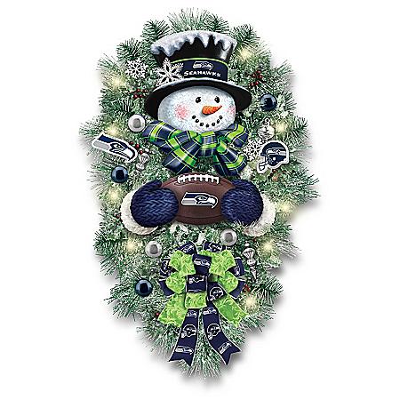 Seattle Seahawks Illuminated NFL Snowman Wreath