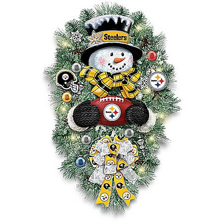 Pittsburgh Steelers Illuminated Snowman Wreath