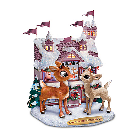 Rudolph The Red-Nosed Reindeer & Clarice Christmas Sculpture