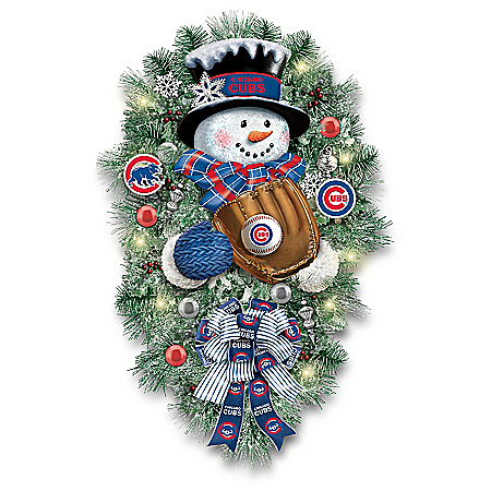 Chicago Cubs Illuminated Snowman Wreath