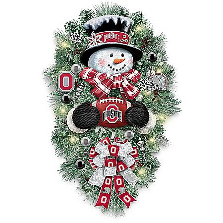 Ohio State Buckeyes Illuminated Snowman Wreath