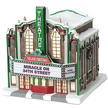 Thomas Kinkade Miracle On 34th Street Village Christmas Theater Sculpture