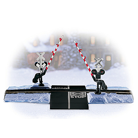 Hawthorne Village Winter Crossing Gate And Block HO Scale Train Accessory