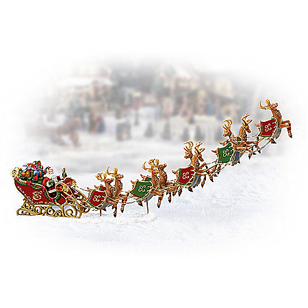 Santa And Sleigh Figurine Village Accessory: Dash Away, Dash Away All