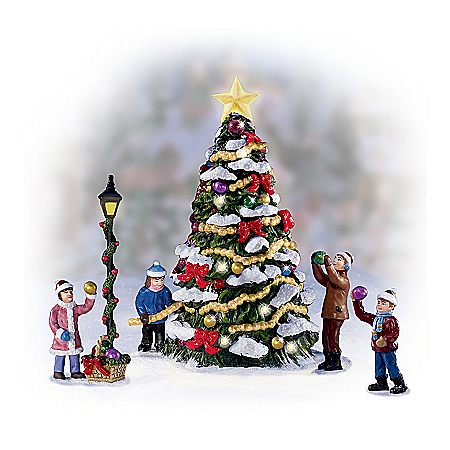 Christmas Village Collectibles Merry & Bright Christmas Tree Village Accessory Set