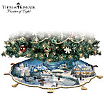 Thomas Kinkade Holidays To Remember Illuminated Tree Skirt: Christmas Tree Decor