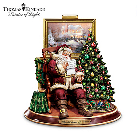 Thomas Kinkade The Joy Of Christmas Collectible Santa Claus Animated Musical Figurine