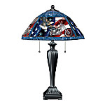 Ride Hard, Live Free Motorcycle Themed Stained Glass Table Lamp