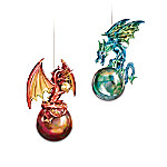 Mythic Reflections Ornament Collection: Fire and Water Dragon Ornament Set One