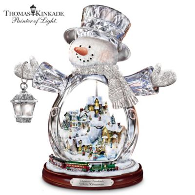 Buy Thomas Kinkade Crystal Snowman With Village, Moving Train