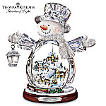 Thomas Kinkade Crystal Snowman Figurine Featuring Light-Up Village And Animated Train